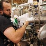 Hops added to boiler inside brewhouse