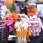 Glasses can work for your cheap wedding candy buffet.