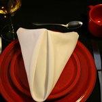 A napkin can be shaped like a pyramid.