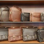 Briefcases on shelf