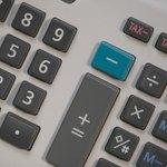 Calculator keys close up.