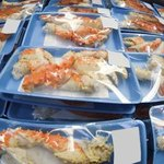 King crab packaged legs in a freezer