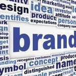 Close up of words relating to branding and design.