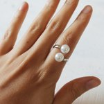 All you need are two pearl beads for this easy-to-make ring.