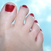 Foot pain may be relieved with toe support.