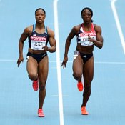 Carmelita Jeter and Jeanette Kwakye use power in their lower body muscles when sprinting.