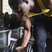 Select an appropriately-weighted dumbbell to work your lats.