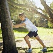 The straight leg calf stretch targets your plantar flexors.