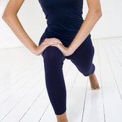 A lunge exercise works the quadriceps and buttocks muscles.