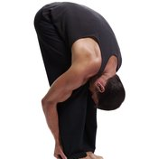 Bending forward is a simple way to stretch the hamstrings.