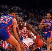 """James Edwards and the Detroit Pistons employed the """"Jordan Rules"""" to try to limit Michael Jordan's production."""