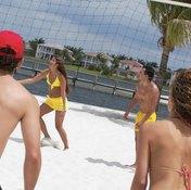 Teamwork drills build unity on a volleyball team.