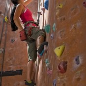 A climber uses several muscle groups while moving along steep surfaces.