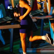 Running fast on a treadmill burns a lot of calories.