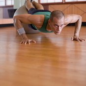 You can also practice for the planche pushup by elevating your feet with an exercise ball.