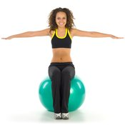 A stability ball hop strengthens your inner and outer thighs.