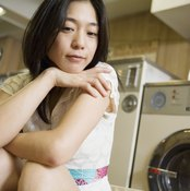 woman and dryer