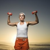A straight back prevents muscle strain during a shoulder press.