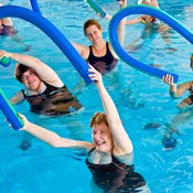 Exercising with an aqua noodle provides a water workout
