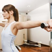 Lateral raises work the shoulders, neck and upper back muscles.