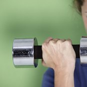 For more toning, use medium-weight dumbbells and do more reps; for building muscle, use higher weight and fewer reps.