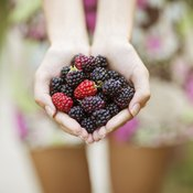 A young woman is holding a handful of berries.