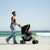 Pushing a baby in a stroller is one way to walk off weight gained during pregnancy.