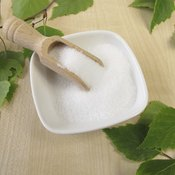Small bowl of saccharin on table