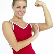 Trim off arm fat along with body fat through exercise and diet.
