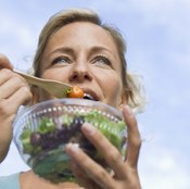 Cut calories by eating fresh vegetables and fruits, and avoiding sugar and fats..