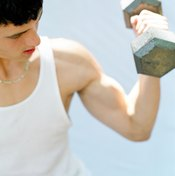 Free weights are used to strengthen both the biceps and triceps muscles.