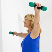 Keeping weights aloft with straight arms is an isometric hold.