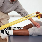 Strengthen your lower leg with Thera-band exercises.
