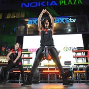 Celebrity Zumba Fitness instructor Gina Grant performs in Los Angeles.