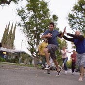 Join some friends for a touch football game to burn calories and fat.