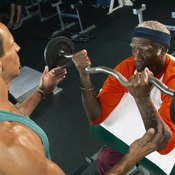 A trainer or spotter is an important component of an elderly person's strength training routine.