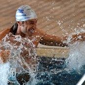Italian goalkeeper Giacomo Brichetto works out in the pool.
