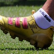 A soccer cleat worn by David Beckham of the L.A. Galaxy.