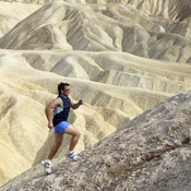 Jogging uphill increases exercise intensity and promotes caloric burn.