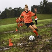 Having players dribble in and out of cones is a good drill for tryouts.
