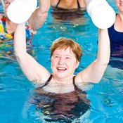 Use pool weights to boost exercise intensity.