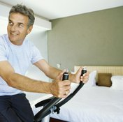 Riding a stationary bicycle can help relieve hip arthritis pain.