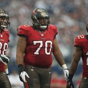 Not all of 340-pound Tampa Bay Buccaneers tackle Donald Penn, center, is muscle.