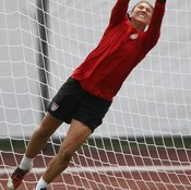Hope Solo of the U.S. women's team performs plyometric drills to increase explosiveness in goal..
