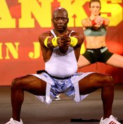 Tae Bo creator Billy Blanks during a fitness demo in Tokyo.