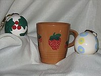 Ornaments and mugs are two of many ceramic items that can be decorated at home.