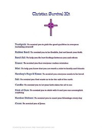 Example of a Christian Survival Kit Label