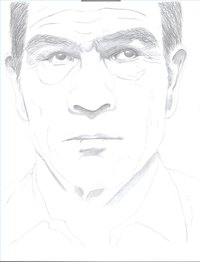 A set up for a portrait of Tommy Lee Jones with the darkest areas of the face filled in.
