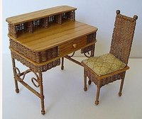 Miniature wicker chair and desk