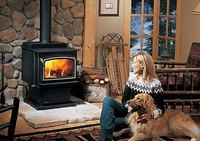Wood stove on rock base